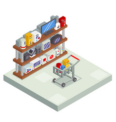 shopping room interior shelf with goods trolley vector image