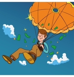 Smiling man fall on a golden parachute vector image vector image