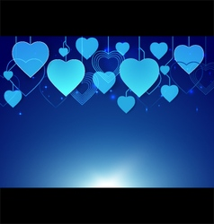 Abstract heart shape hang in dark blue background vector image vector image