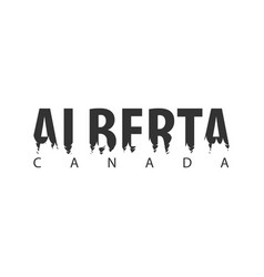 alberta canada text or labels with silhouette of vector image