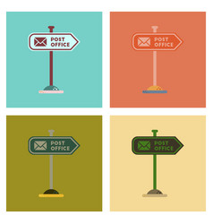 Assembly flat icons sign post office vector