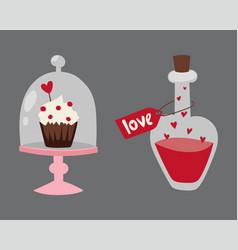 happy valentine day flat design love wedding items vector image vector image