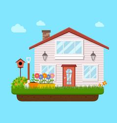 house backyard with garden flower vector image