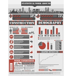 INFOGRAPHIC WORK RED vector image vector image