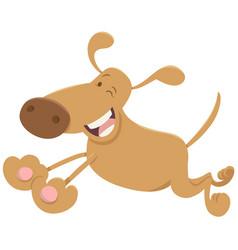 Running funny dog cartoon vector