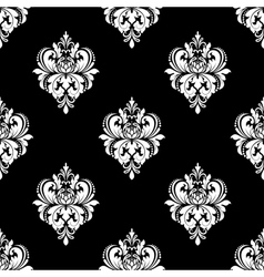 Black and white classic flowers seamless pattern vector image vector image