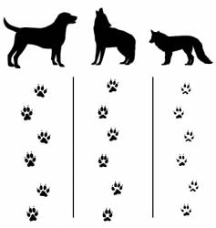 canine tracks and silhouettes vector image vector image
