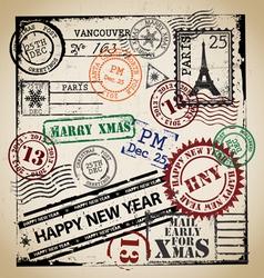 Christmas stamp set vector image vector image