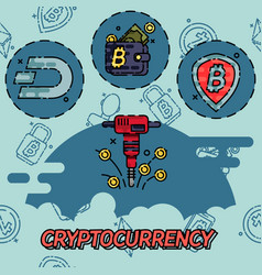 cryptocurrency flat concept icons vector image