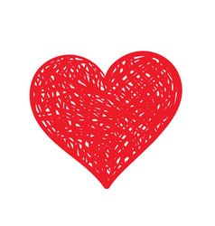 hand-drawn red heart vector image