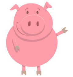 happy pig farm animal character vector image vector image