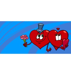 hearts in love valentine card vector image vector image