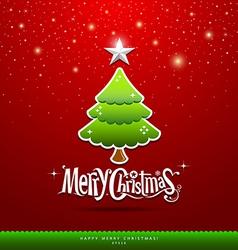 Merry Christmas green tree vector image vector image
