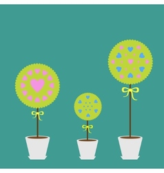 Tree set with heart flowers in the pot Flat design vector image vector image