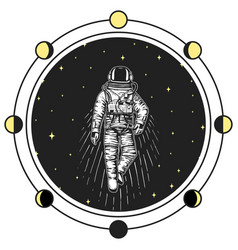 astronaut spaceman moon phases planets in solar vector image vector image
