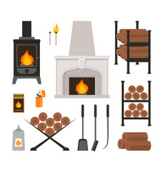 cartoon fireplace icons set vector image vector image