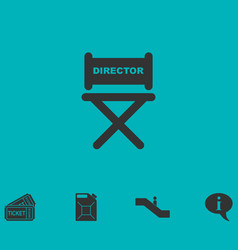 Director chair icon flat vector