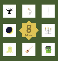 flat icon celebrate set of candlestick broom vector image