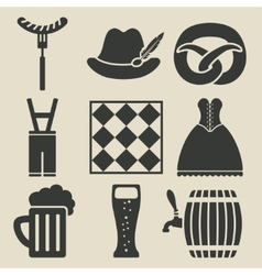 Oktoberfest beer festival icons set vector image vector image
