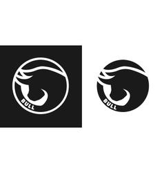 Silhouette of an bull monochrome logo vector image vector image
