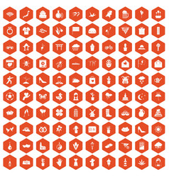 100 flowers icons hexagon orange vector image