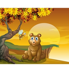 A brown bear and a bee near the cliff vector
