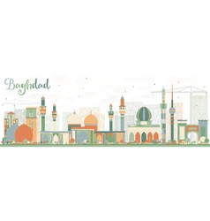Abstract Baghdad Skyline with Color Buildings vector