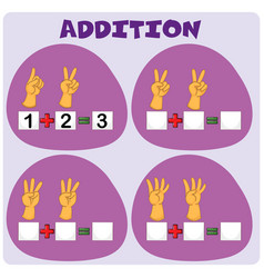 Addition worksheet with hand gestures vector