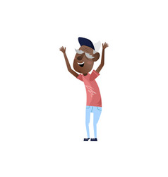 African mature man with hands up character vector