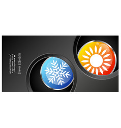 air conditioning sun and snowflake unique vector image