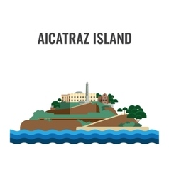 Alcatraz island view from the sea vector