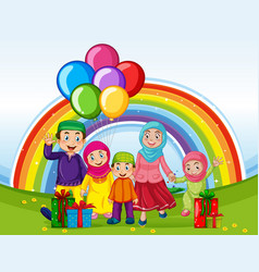 Arab muslim family in traditional clothing vector