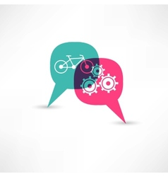 Bicycle gear bubble speech vector
