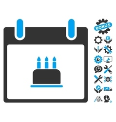 Birthday Cake Calendar Day Icon With Bonus vector
