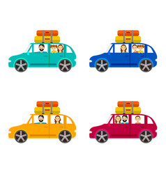 cartoon family journey by car set vector image