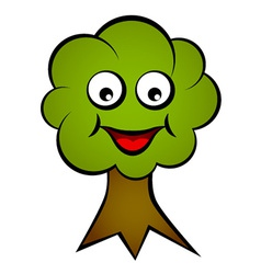 Cartoon smiling face tree vector
