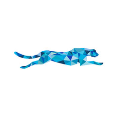 Cheetah running side low polygon vector