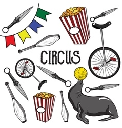 Circus Collection of hand drawn icons vector