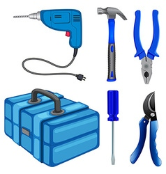 Construction tools and box vector