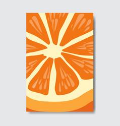 Cut orange template card slice fresh fruit poster vector