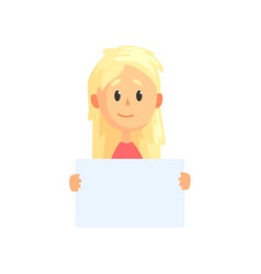 cute blond girl with piece of empty paper in hands vector image