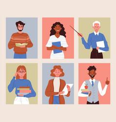 Diverse multiracial teacher characters vector