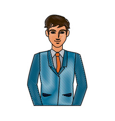 Drawing character business man with suit vector