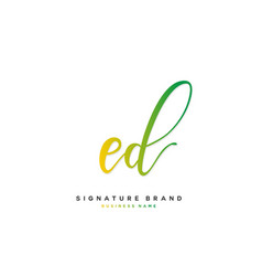 E d ed initial letter handwriting and signature vector