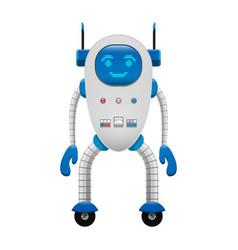 electronic robot on wheels isolated vector image