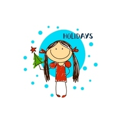 emblem with a fun girl Christmas Holidays vector image