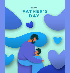 Fathers day banner paper cut dad and son hug vector