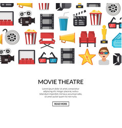 flat cinema icons background with place vector image