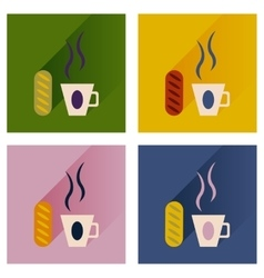 Flat icons collection cup of coffee and bun vector