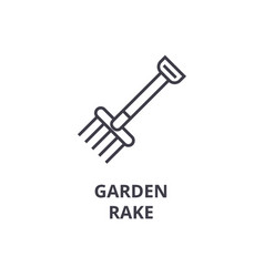 Garden rake line icon outline sign linear symbol vector